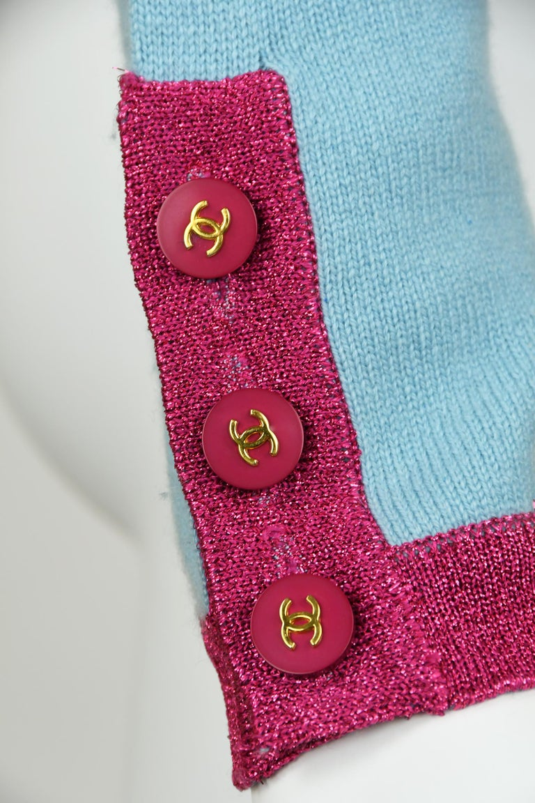 Chanel Light Blue Sweater with Sequins and Pink Metallic Trim - Size FR 38 For Sale 1