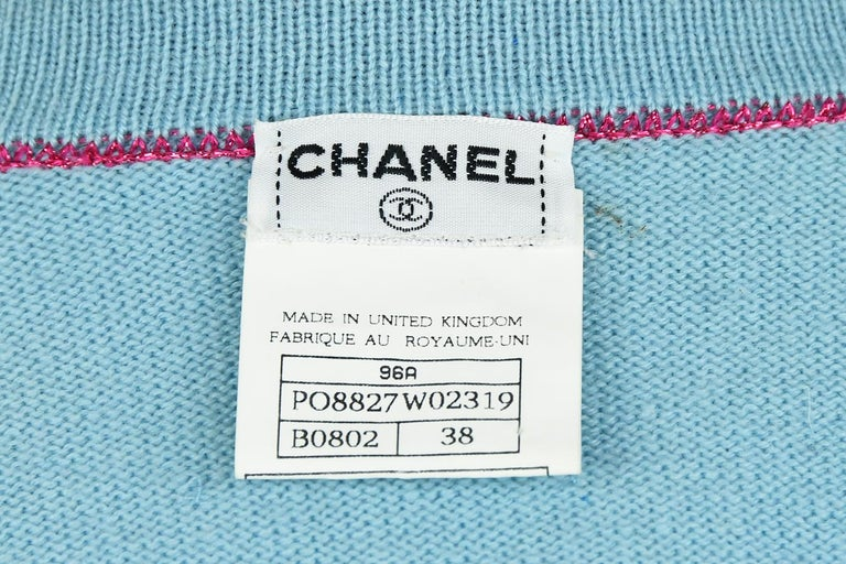 Chanel Light Blue Sweater with Sequins and Pink Metallic Trim - Size FR 38 For Sale 3