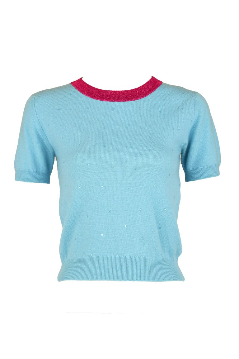 Women's Chanel Light Blue Sweater with Sequins and Pink Metallic Trim - Size FR 38 For Sale