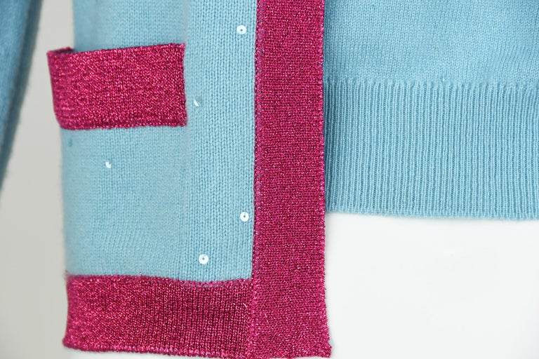 Chanel Light Blue Sweater with Sequins and Pink Metallic Trim - Size FR 38 For Sale 2