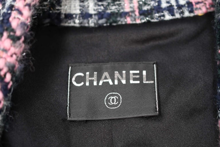 Chanel Long Multi Colored Tweed Coat - FR 34 For Sale 2