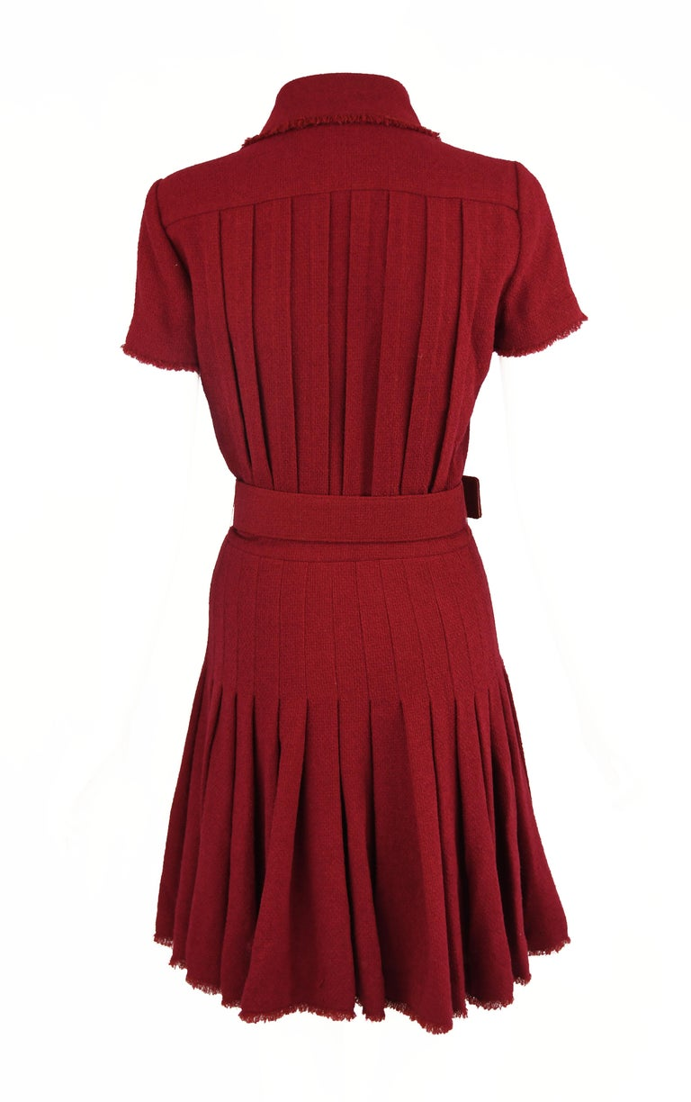 Chanel Maroon Pleated Dress  In New Condition For Sale In Newport, RI