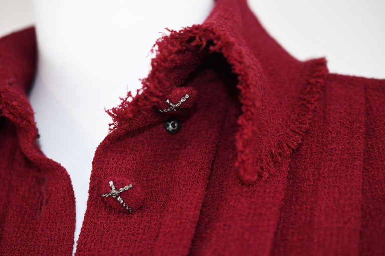Chanel Maroon Pleated Dress  For Sale 3
