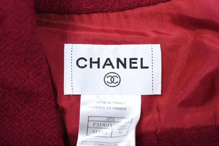 Chanel Maroon Pleated Dress  For Sale 4