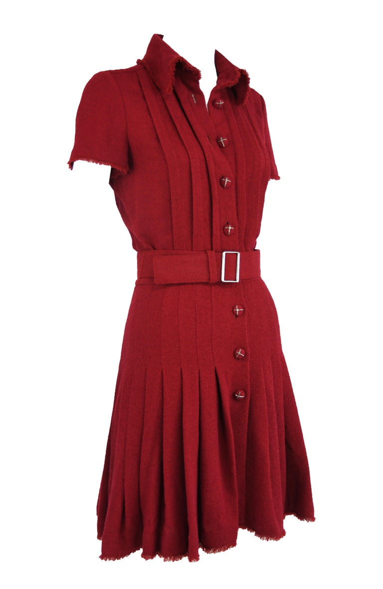 Red Chanel Maroon Pleated Dress  For Sale