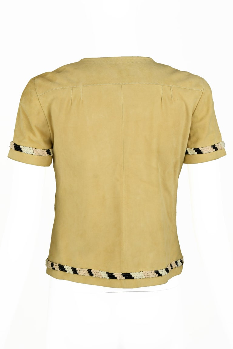 Beige Chanel Tan Suede Top - Size FR 38 For Sale
