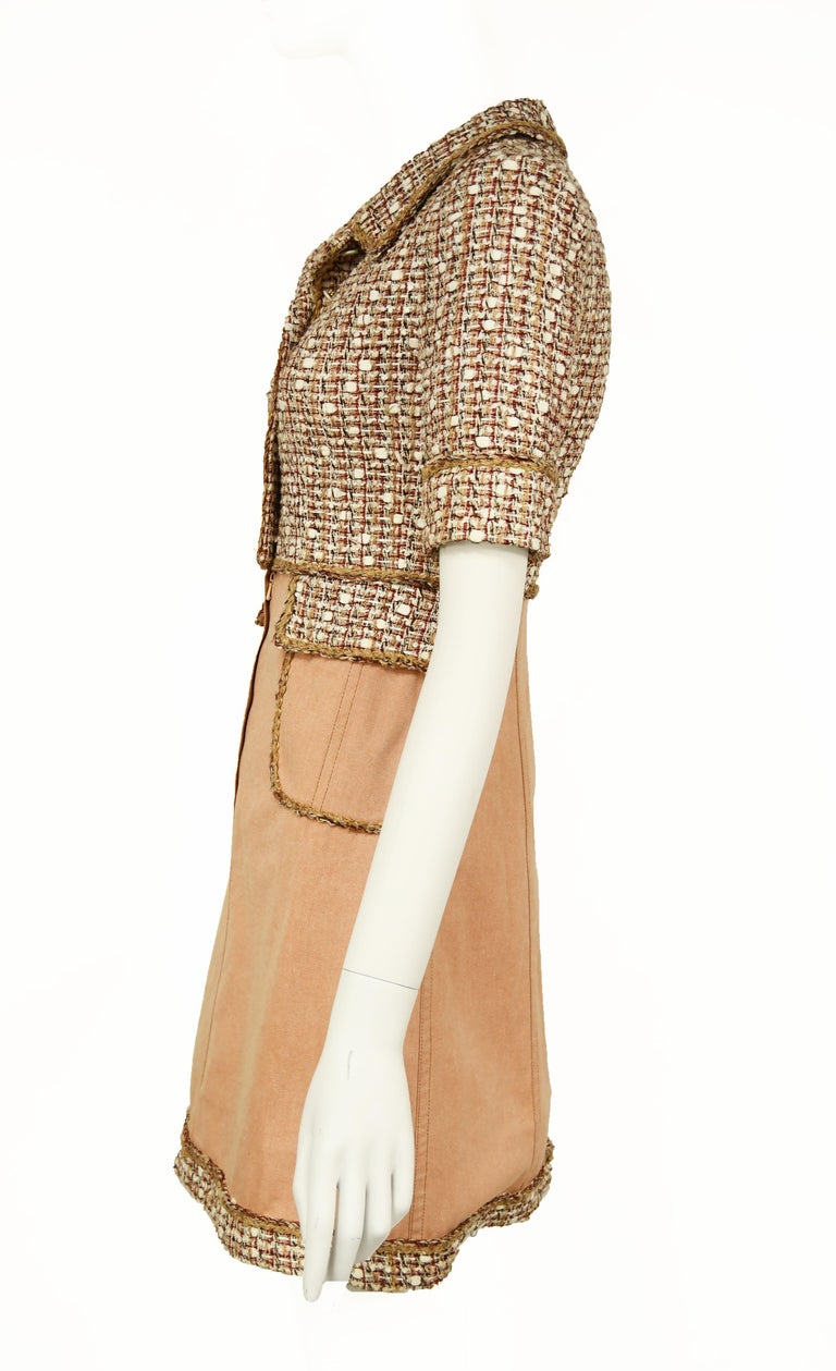 Beige Chanel Tweed & Twill A-Line Dress - Size FR 34 For Sale
