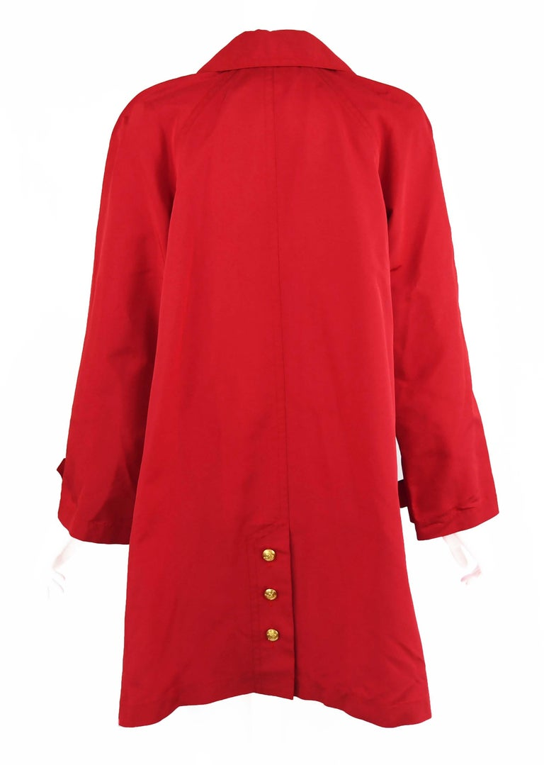 Women's Chanel Vintage Red Rain Coat with Gold Buttons - Size FR 34 For Sale