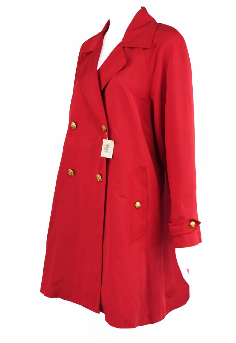 66fc280e5 Chanel Vintage Red Rain Coat with Gold Buttons - Size FR 34