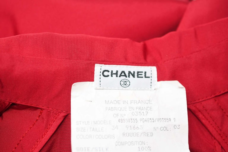 8cdf051b49b0 Chanel Vintage Red Rain Coat with Gold Buttons - Size FR 34 For Sale ...