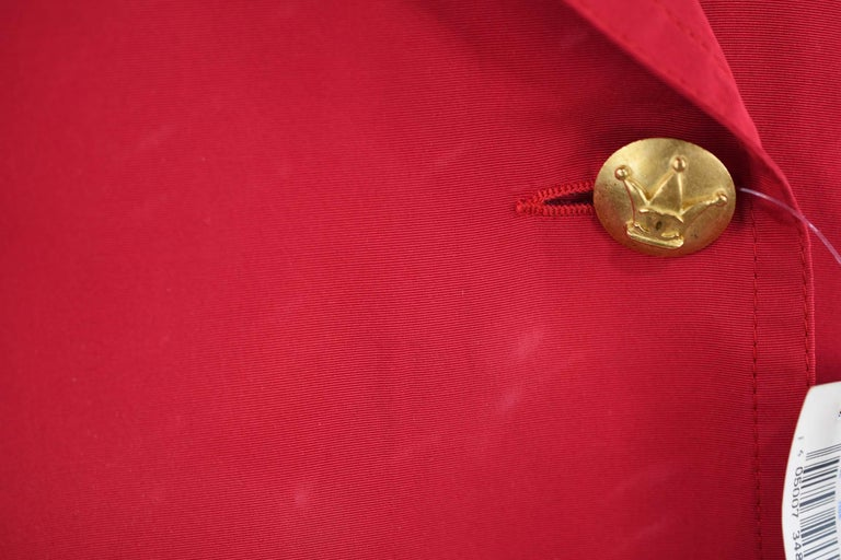 Chanel Vintage Red Rain Coat with Gold Buttons - Size FR 34 For Sale 2