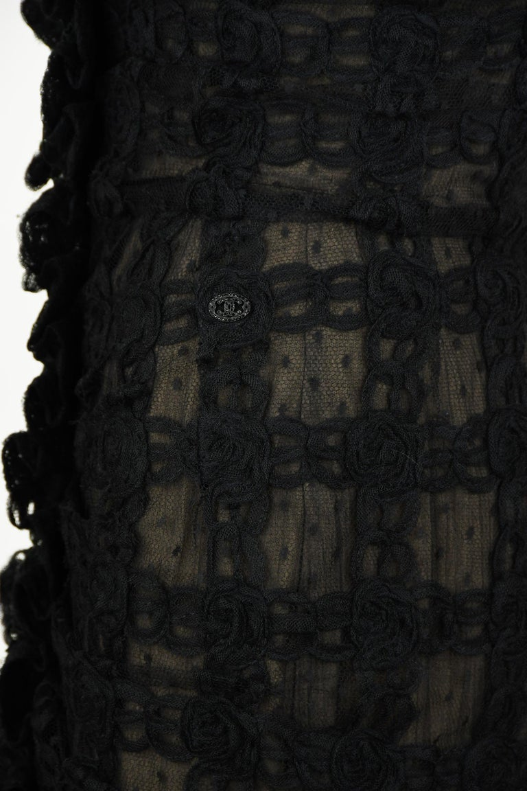 Vintage Chanel Black Strapless Lace Dress - Size FR 40 For Sale 1