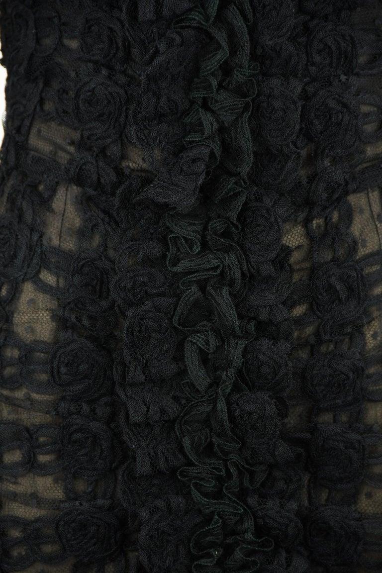 Vintage Chanel Black Strapless Lace Dress - Size FR 40 For Sale 2
