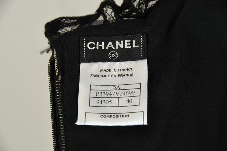 Vintage Chanel Black Strapless Lace Dress - Size FR 40 For Sale 3