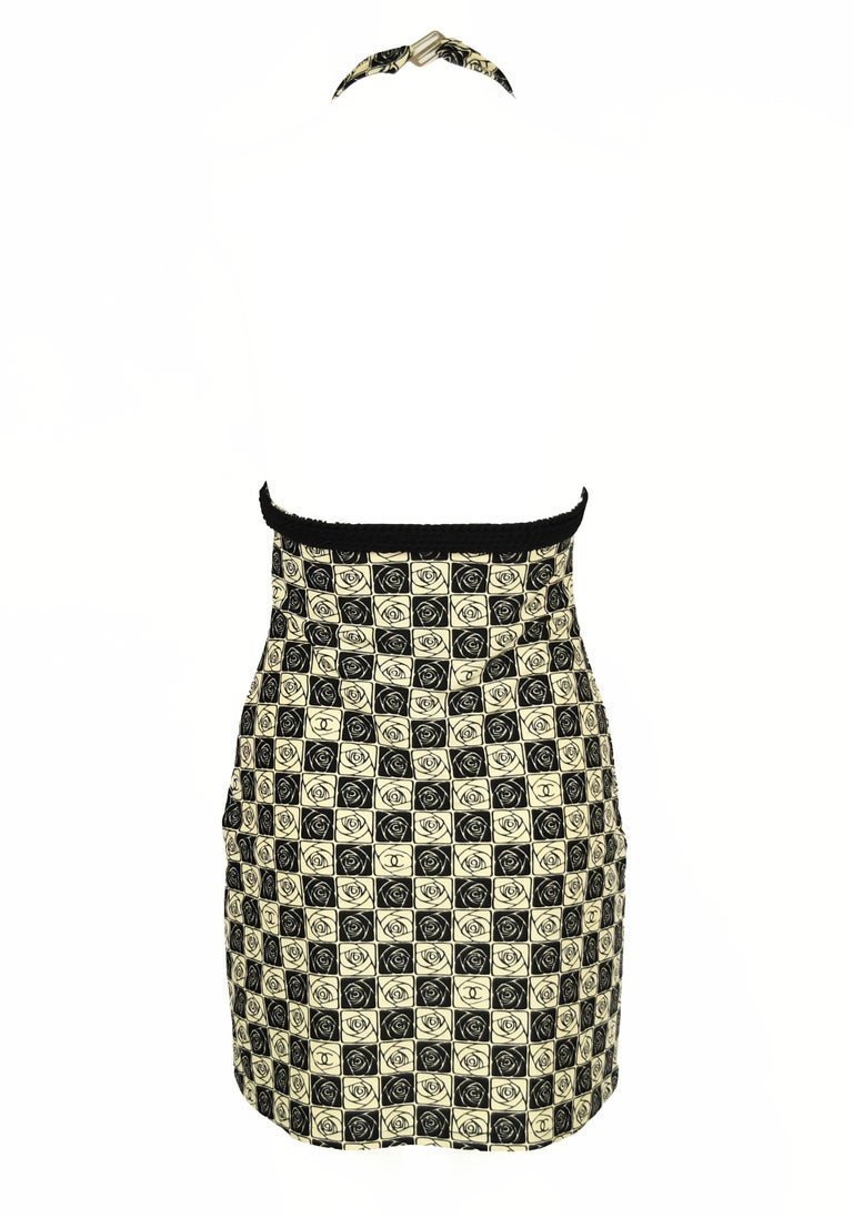 Beige Vintage Chanel Checkered Rose Print Lycra Dress - Size FR 36 For Sale