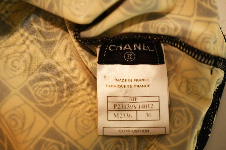Vintage Chanel Checkered Rose Print Lycra Dress - Size FR 36 For Sale 1