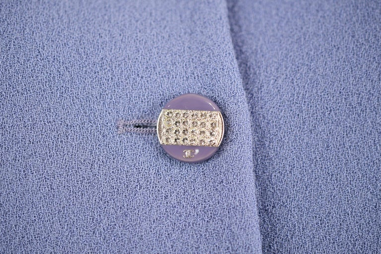 Vintage Chanel Lilac/Gray Suit with Rhinestone Buttons - Size FR 36 In Excellent Condition For Sale In Newport, RI