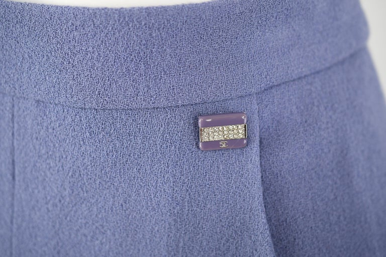 Women's Vintage Chanel Lilac/Gray Suit with Rhinestone Buttons - Size FR 36 For Sale