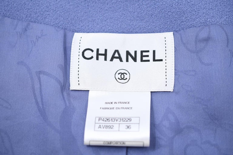 Vintage Chanel Lilac/Gray Suit with Rhinestone Buttons - Size FR 36 For Sale 1