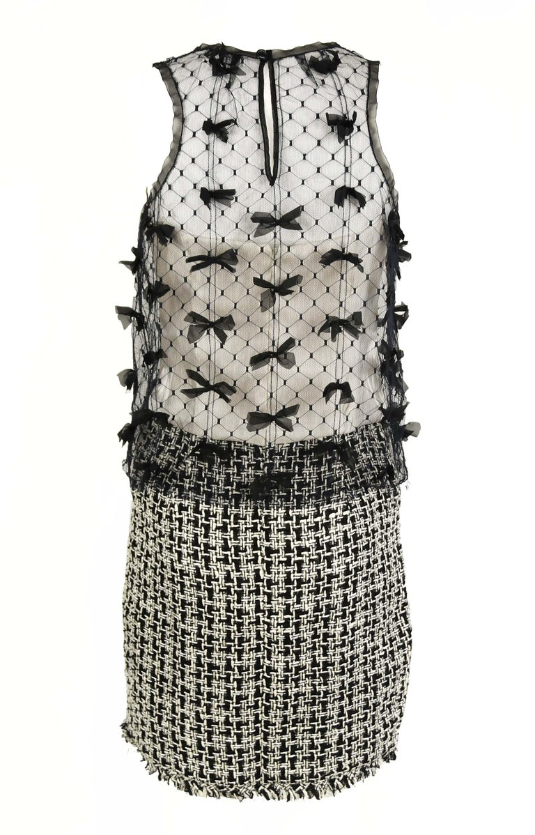 Gray Vintage Chanel Tweed and Tulle Dress with Bows - Size FR 36 For Sale