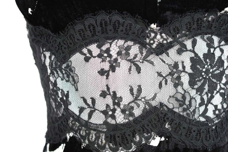 Women's Versace Black & White Velvet Dress - Size IT 42 For Sale