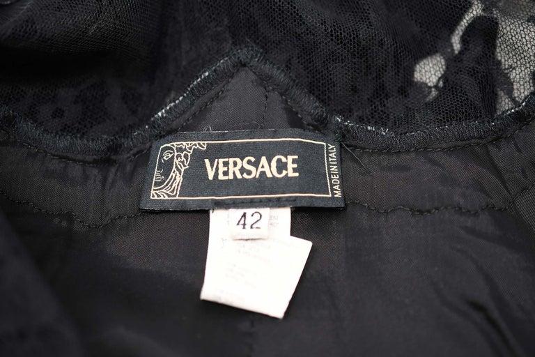 Versace Black & White Velvet Dress - Size IT 42 For Sale 1