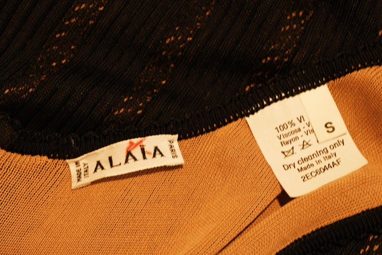Vintage Alaia Black Knit Jacquard Gown with Nude Slip - Size S For Sale 3