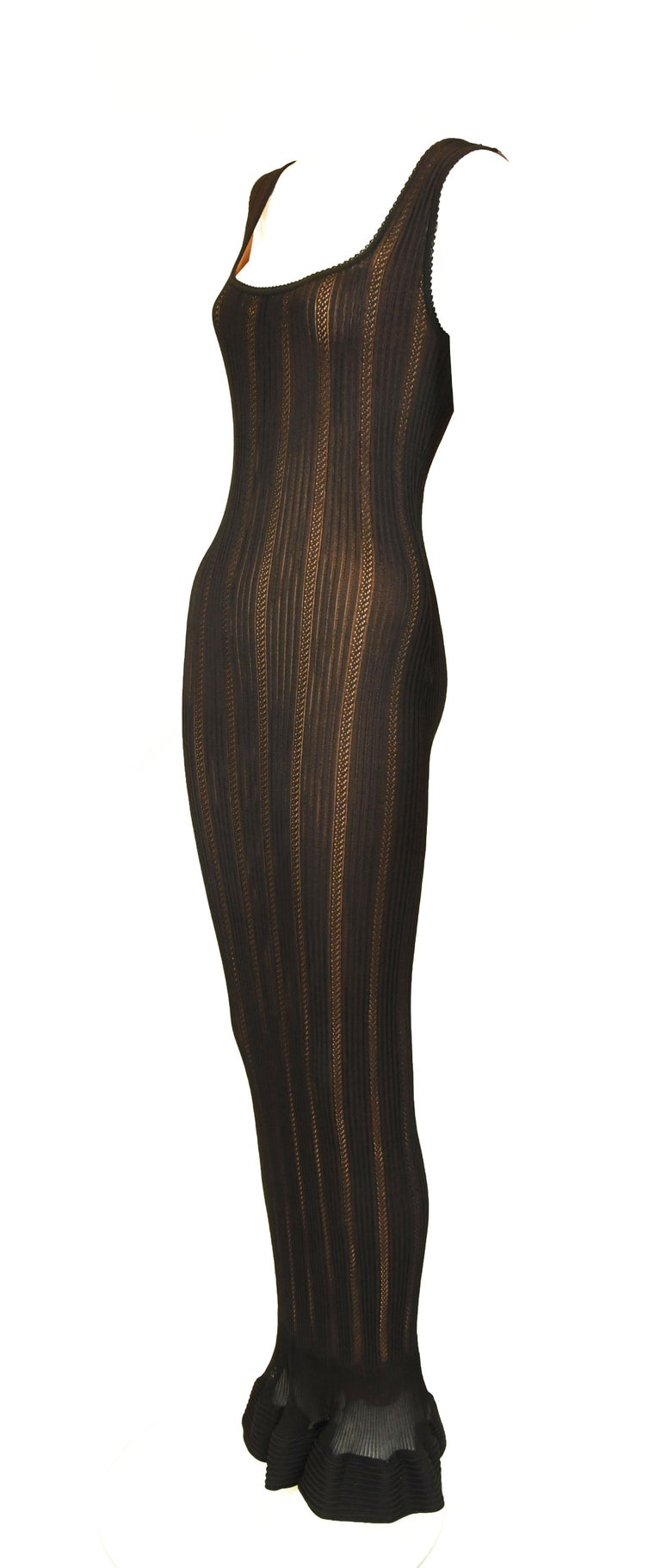 Vintage Alaia Black Knit Jacquard Gown with Nude Slip - Size S In Excellent Condition For Sale In Newport, RI
