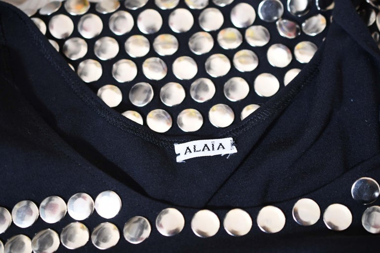 Vintage Alaia Black Mini Dress with Silver Studs - Size S For Sale 2