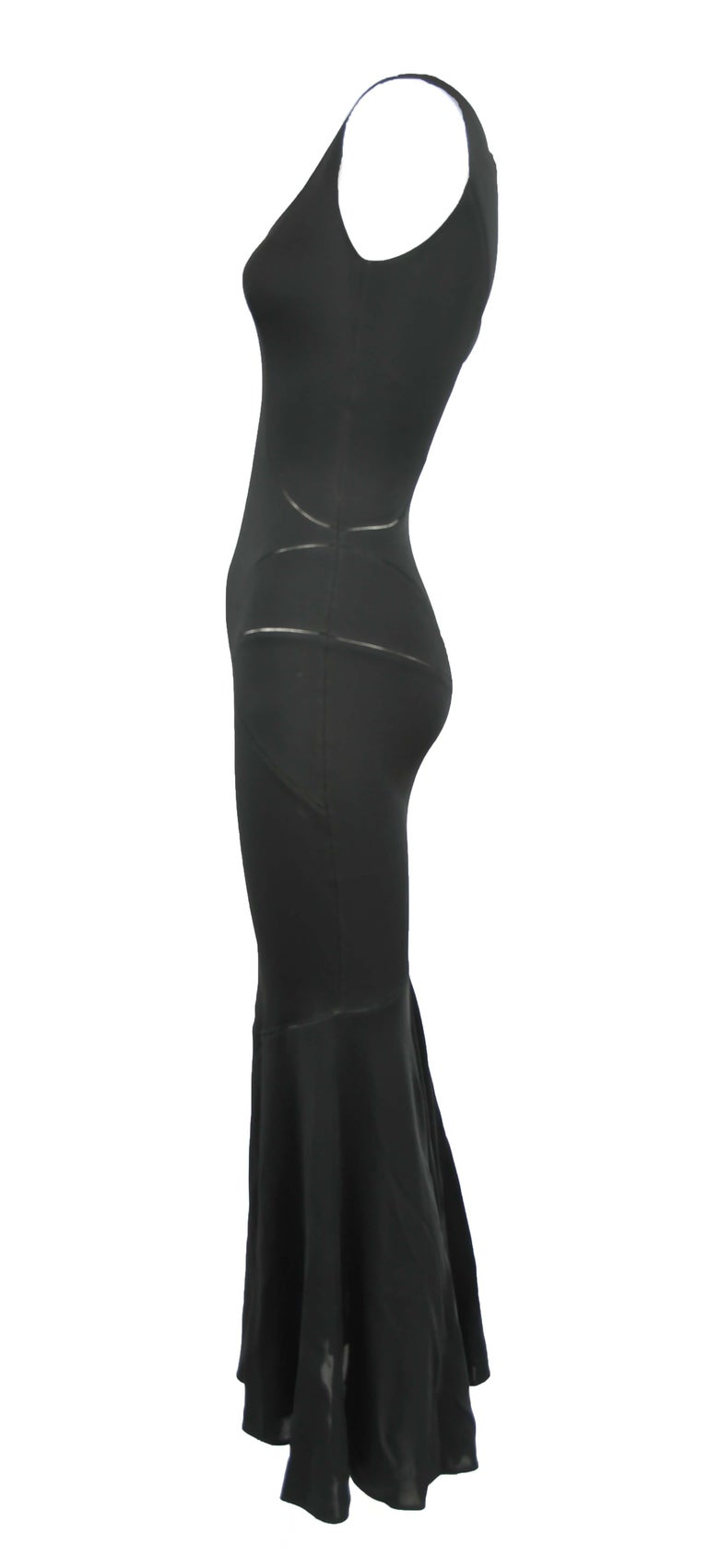 Vintage Alaia Black Tea Length Gown - Size S In Excellent Condition For Sale In Newport, RI