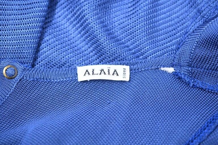 Vintage Alaia Blue Knit Sleeveless Dress - Size XS For Sale 2