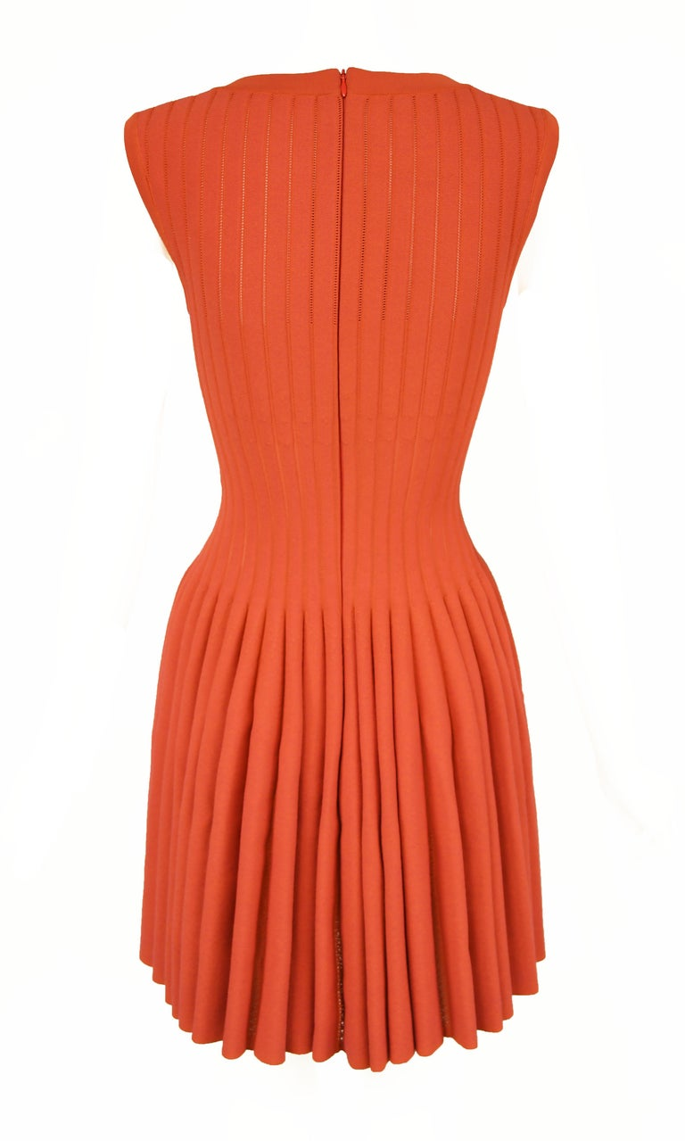 Alaia Dark Coral Fit & Flare Dress - Size FR 38 In Excellent Condition For Sale In Newport, RI