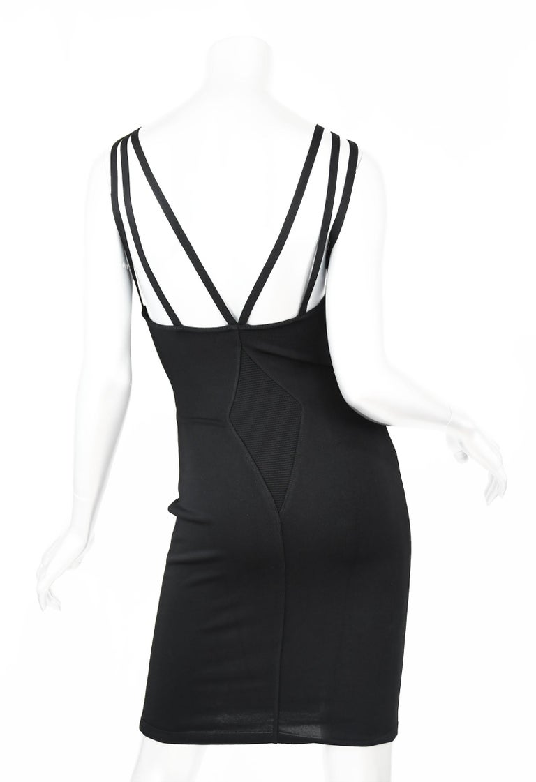 Vintage Alaia Fitted Black Strappy Dress - Size S In Excellent Condition For Sale In Newport, RI