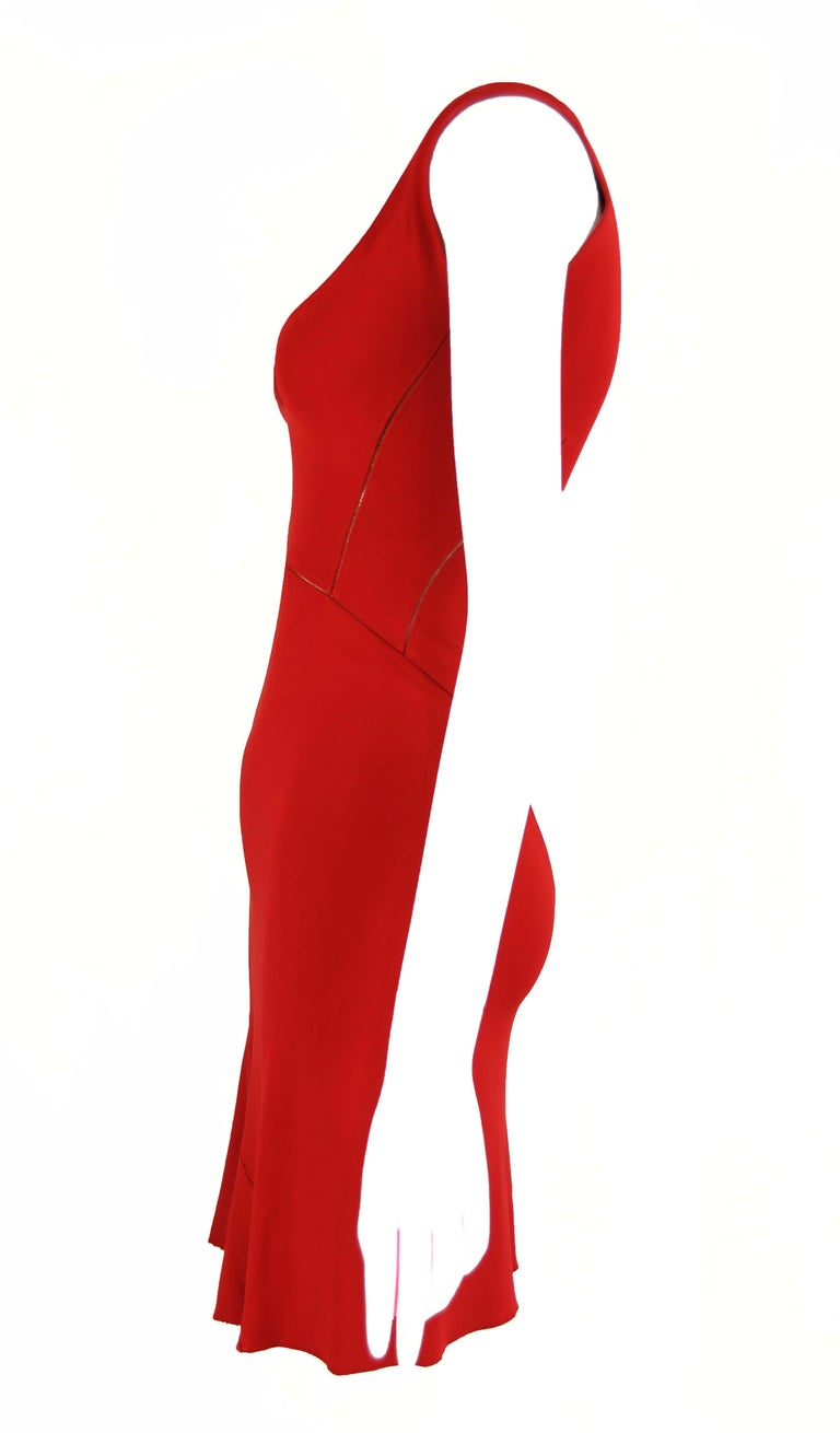Alaia Fitted Red Cocktail Dress  In Excellent Condition For Sale In Newport, RI