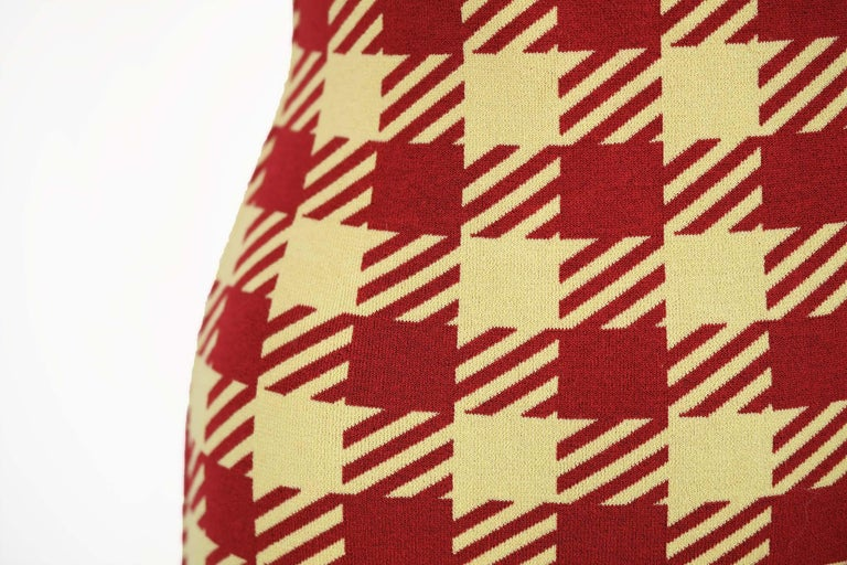 Women's Azzedine Alaia Vintage Red Houndstooth Fitted Dress  For Sale