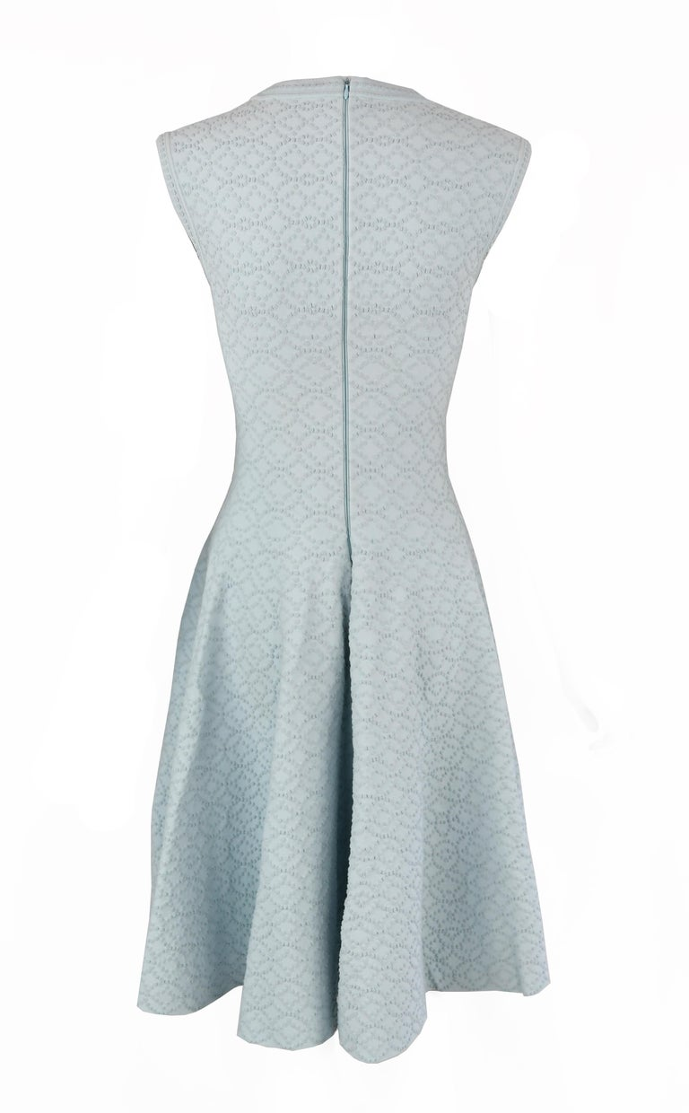 Alaia Light Blue Cap Sleeve Fit & Flare Dress In Excellent Condition For Sale In Newport, RI