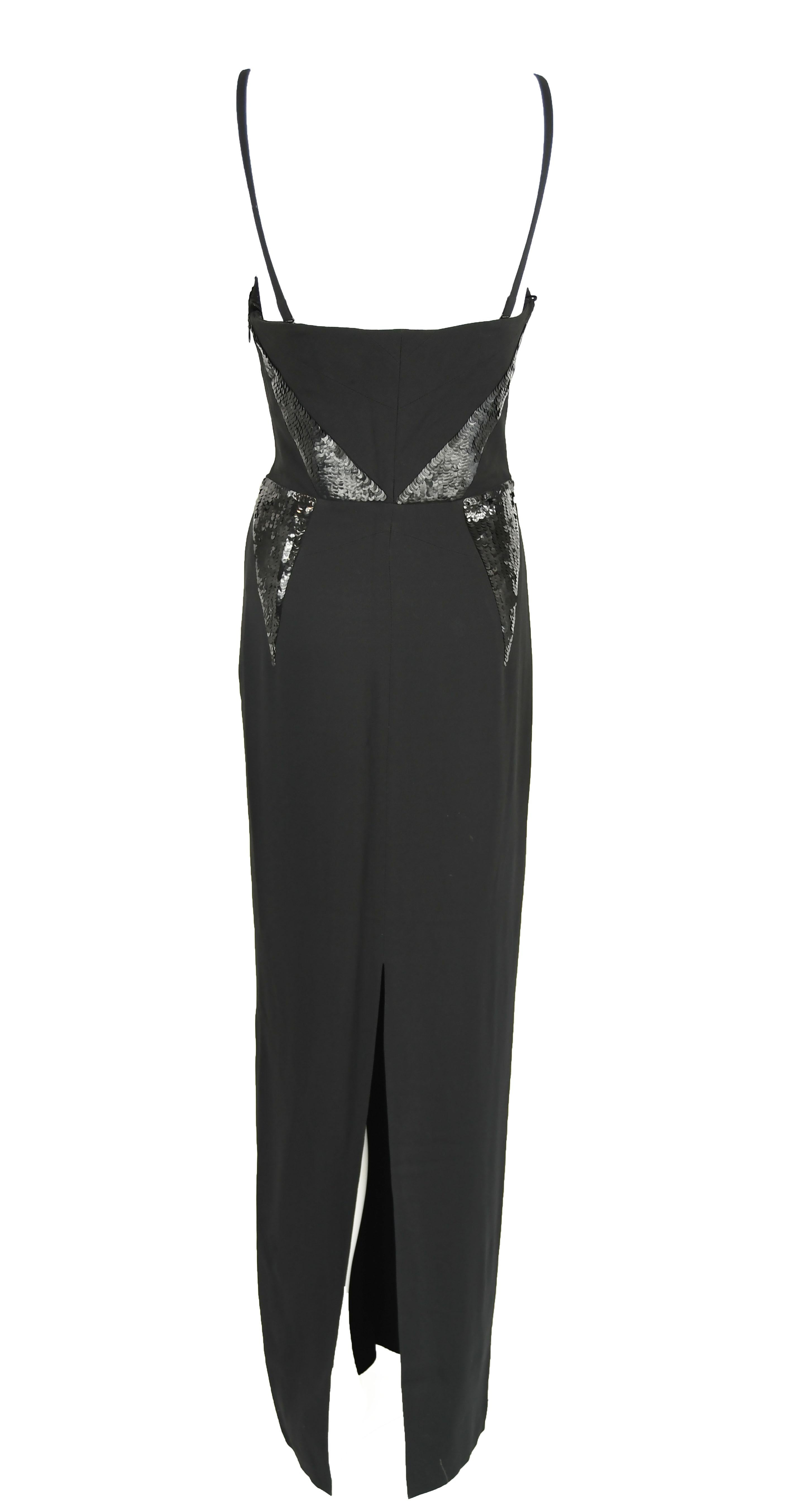 Christian Dior Black Column Gown with Sequins - Size FR 38 For Sale ...