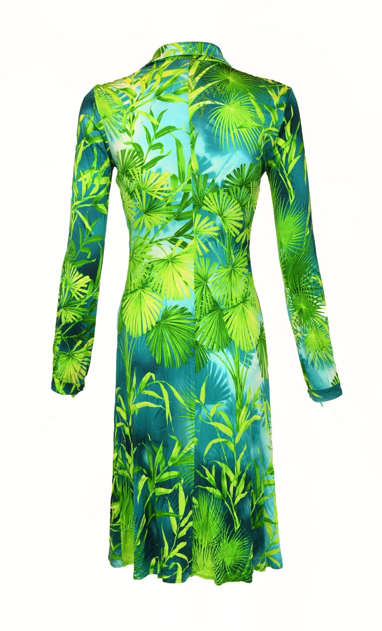 Iconic Gianni Versace Couture Tropical Print Dress - Size IT 40 In Excellent Condition For Sale In Newport, RI