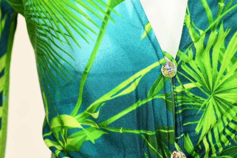 Women's Iconic Gianni Versace Couture Tropical Print Dress - Size IT 40 For Sale