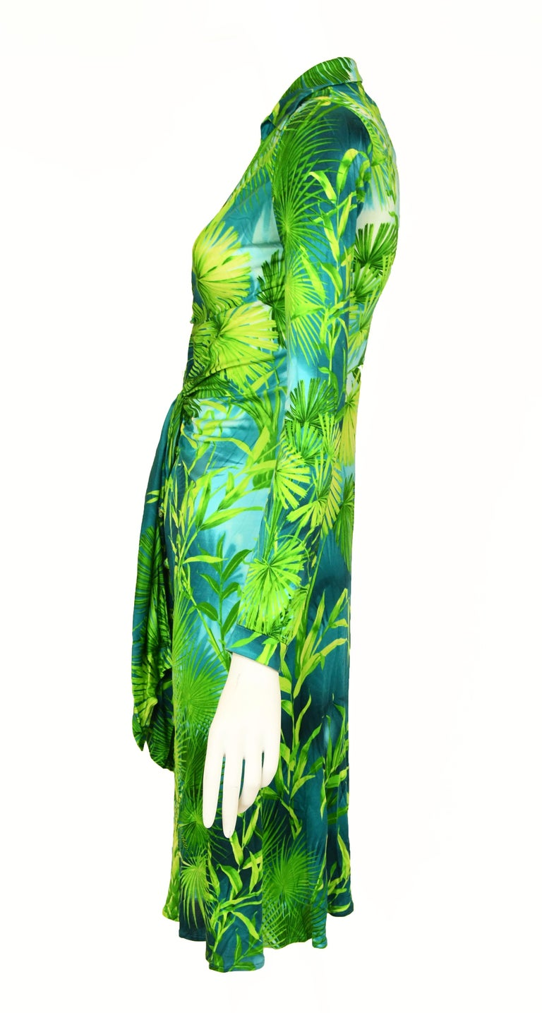 Green Iconic Gianni Versace Couture Tropical Print Dress - Size IT 40 For Sale