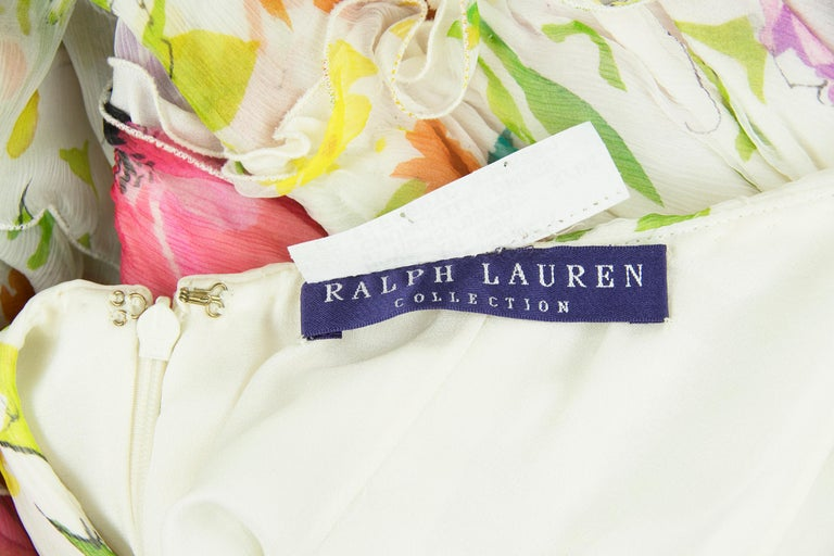 Products Ralph Lauren Collection White Floral Chiffon Gown - Size US 2 For Sale 3
