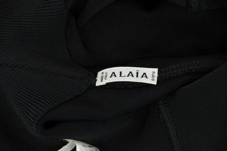 Vintage Alaia Black Knit Pleated Dress - Size XS For Sale 2