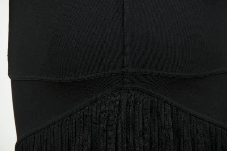 Vintage Alaia Black Knit Pleated Dress - Size XS For Sale 1