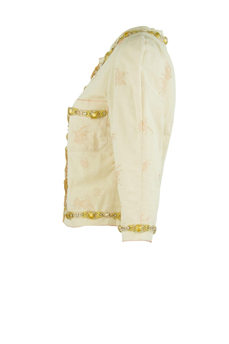 Vintage Chanel Peach & Gold Cardigan - FR 38 In Excellent Condition For Sale In Newport, RI
