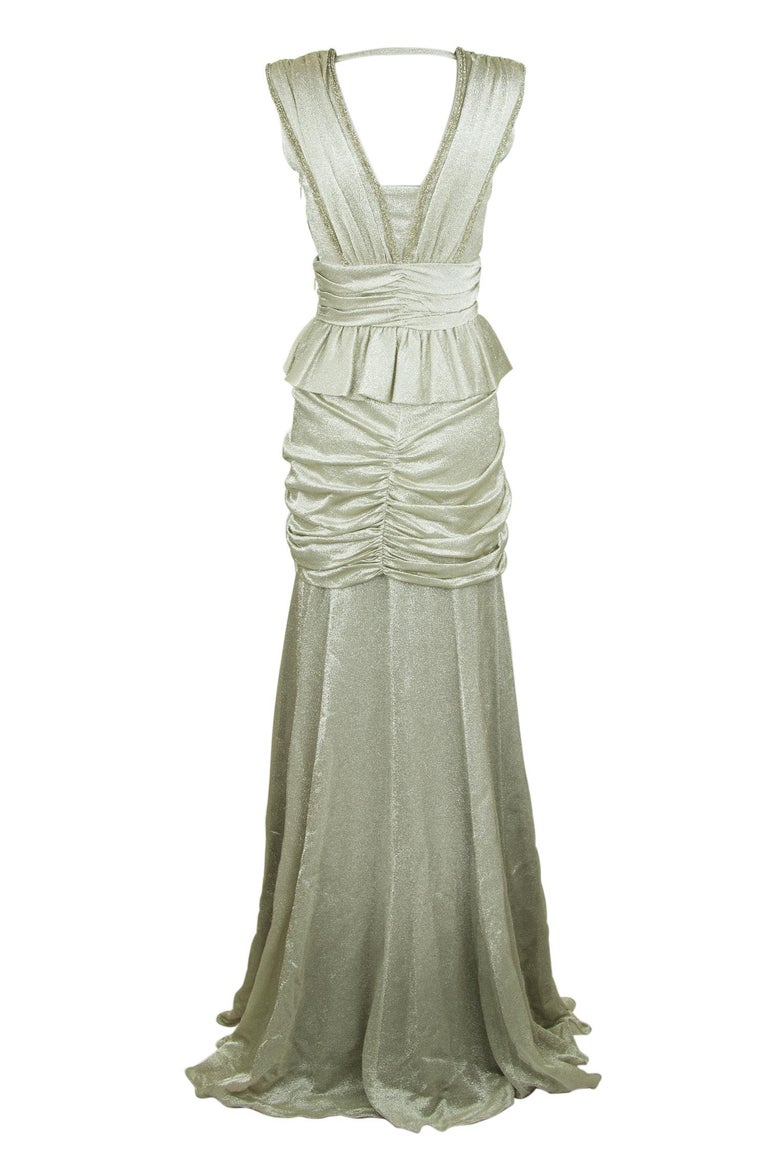 Viktor & Rolf Silver Sleeveless Gown  In Excellent Condition For Sale In Newport, RI