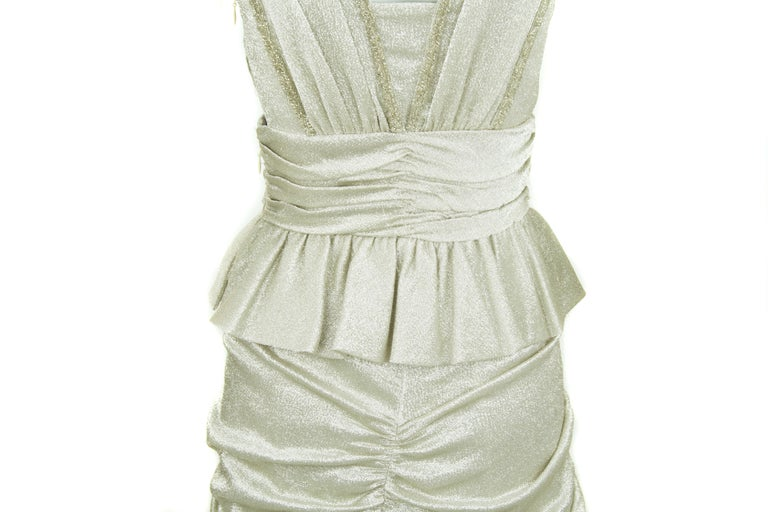 Viktor & Rolf Silver Sleeveless Gown  For Sale 1