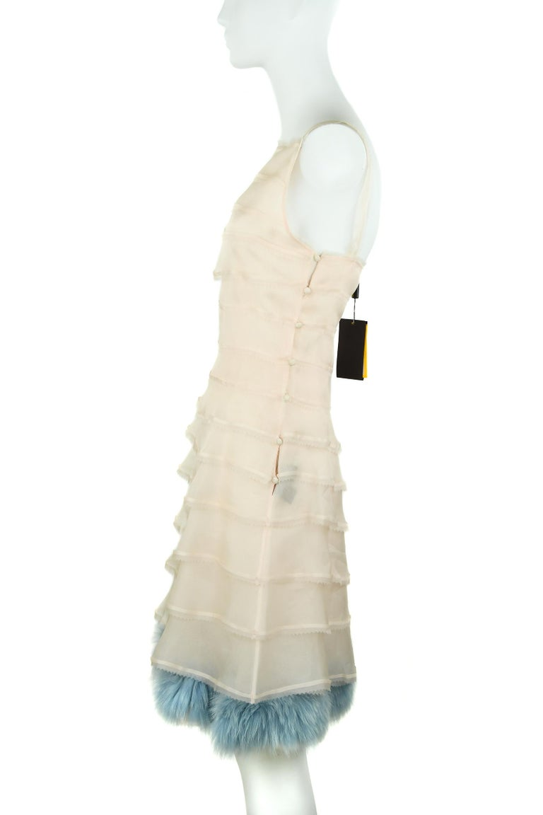 Orange Fendi Peach Organza Dress with Blue Fur Detail - Size IT 38 For Sale