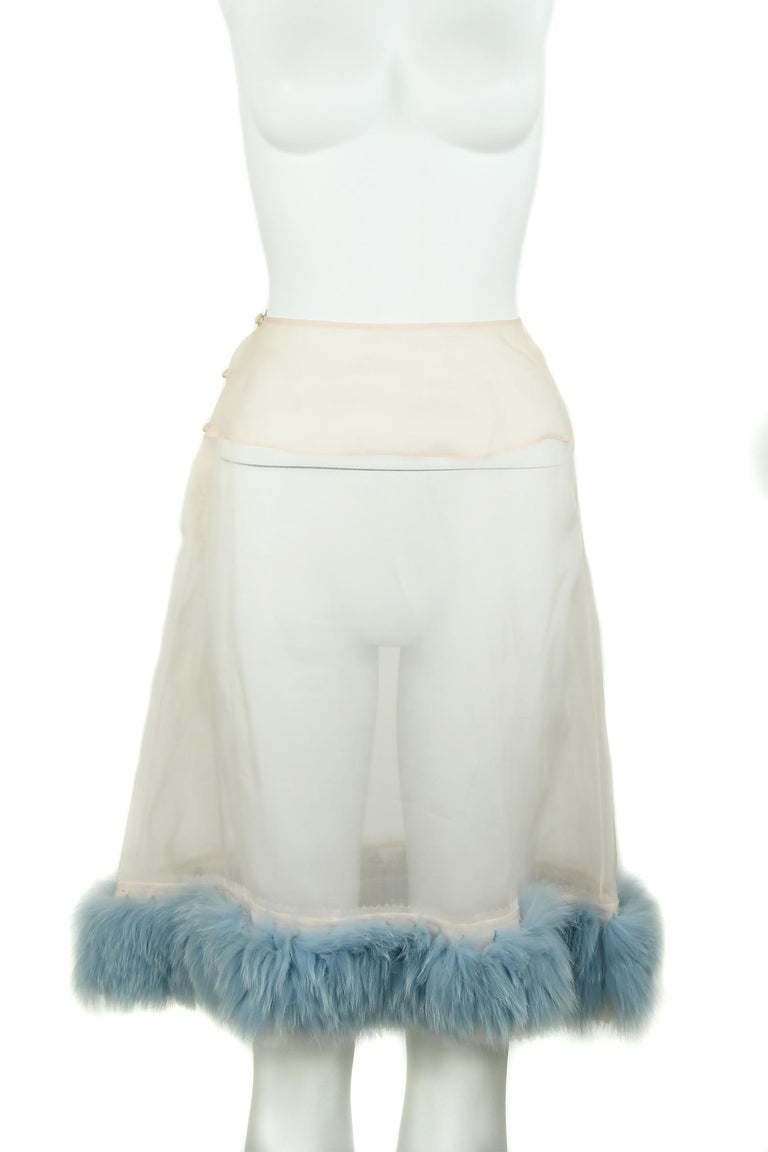 Fendi Peach Organza Dress with Blue Fur Detail - Size IT 38 In New Condition For Sale In Newport, RI