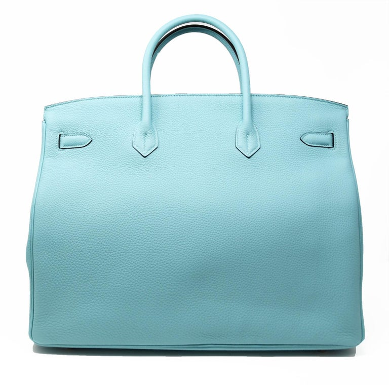 Hermes Birkin Bag 40cm Blue Atoll Clemence GHW In New Condition For Sale In Newport, RI