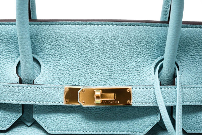 Hermes Birkin Bag 40cm Blue Atoll Clemence GHW For Sale 1